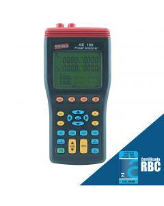 Analisador de energia mod. AE-100, true RMS, interface USB, datalogger com capacidade para cartão SD de 4GB, medição de distorção de harmônica