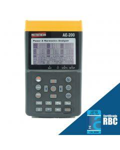 Analisador de energia mod. AE-200, true RMS, interface USB, datalogger, exibição de 50 harmônicas simultaneamente, diagrama vetorial de sistemas trifásicos, medição de distorção de harmônica
