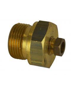 """Conexão deslizante para termômetro bimetal mod. T-08406.0004 de ¾"""" G – 8mm em latão"""