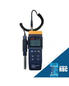 Decibelímetro mod. DEC-440, faixa de medição de 30 a 130dB, ponderação A e C e interface RS-232, conforme IEC 60651