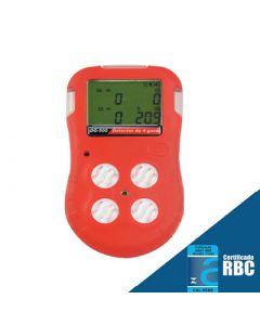 Detector de 4 gases mod. DG-500, detecção de oxigênio, monóxido de carbono, gases combustíveis e sulfeto de hidrogênio, bateria recarregável, interface USB, software