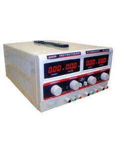 Fonte de Alimentação Mod. FA-3030 Simétrica Digital de 2 canais, tensão até 64 Volts (modo série), corrente até 6 Ampéres (modo paralelo) e 1 saída fixa de 5V/3A
