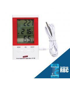 Termo-higrômetro Digital Portátil, com sensor interno e externo, para mesa ou parede com relógio e imã mod. HT-750