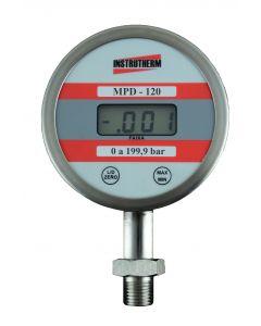 """Manômetro Digital mod. MPD-120 Rosca 1/2 """"NPT Esc: 0-199,9 Res: 0,1 Bar"""