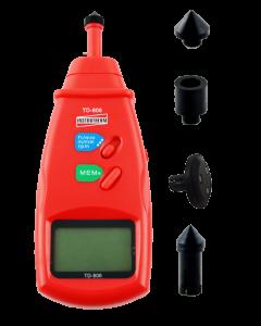 Tacômetro Mod. TD-806 Digital Portátil de Contato faixa de medição 0,5 a 19999 RPM