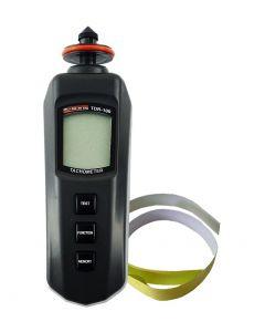 Tacômetro mod. TDR-100 digital portátil faixa contato 0,5 a 19999 e optico 5 a 99999 RPM com RS-232