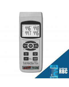 Termômetro Digital Portátil Tipo K e J c/ Saída RS-232 e Datalogger Mod TH-096
