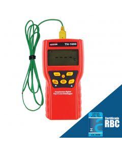Termômetro Tipo-K com Datalogger manual Mod. TH-1600 de 1 Canal com função HOLD, Máx/Mín e temperatura relativa