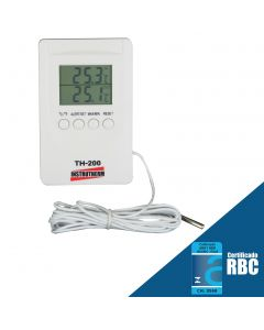 Termômetro digital mod. TH-200 int/ext, int: -20 a 70°C, ext: -50 a 70°C, máx/min, alarme configurável, imã traseiro e cabo do sensor de 3 metros.