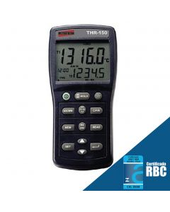 Termômetro Digital Portátil tipo K, J, E, T, R, S, N com Datalogger e RS-232 Mod. THR-150