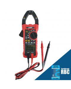 Alicate volt-amperimetro mod. VA-905, true RMS, CAT IV, função NCV (detecção de tensão sem contato) e função INRUSH (medição de surto)