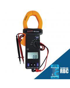 Wattimetro Digital Portátil Mod. WD-2000 True Rms, CAT III 600V, até 1500a, mudança de faixa automática, função de pico e harmônicas AC